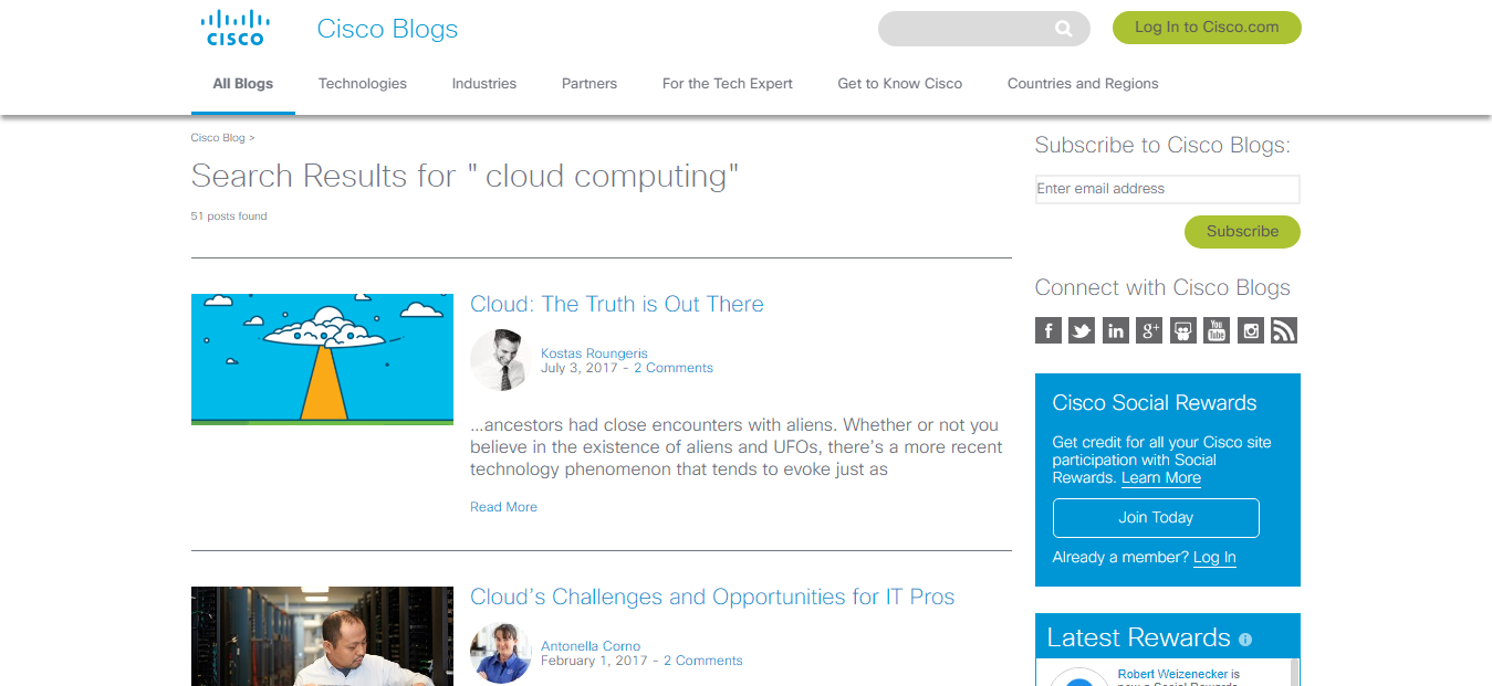 Cisco Blogs on Cloud Computing